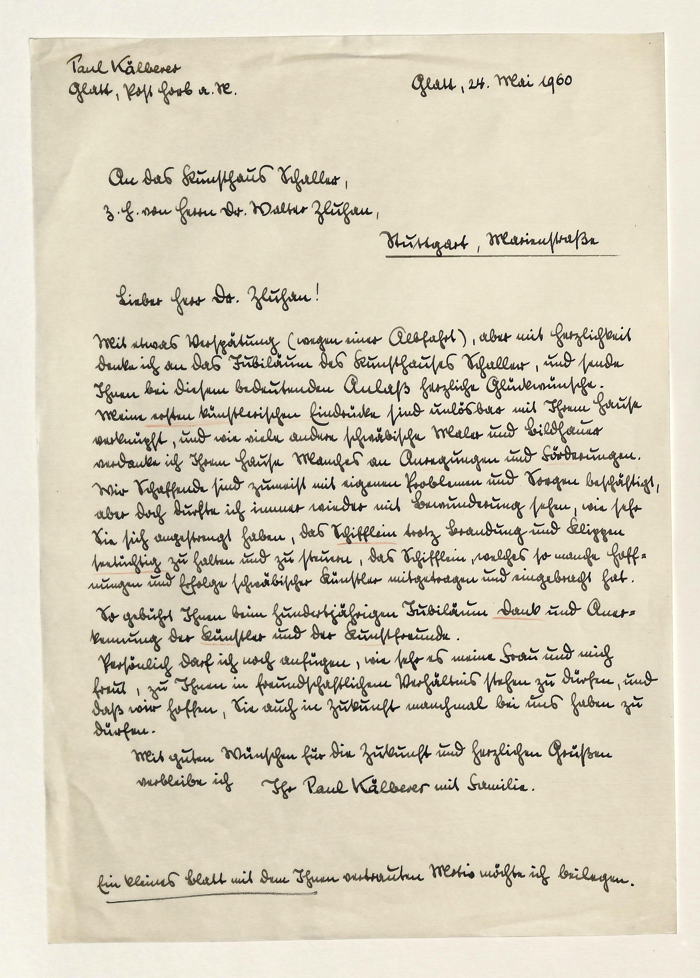 Eigenh. Brief mit U.: Kälberer, Paul, Maler