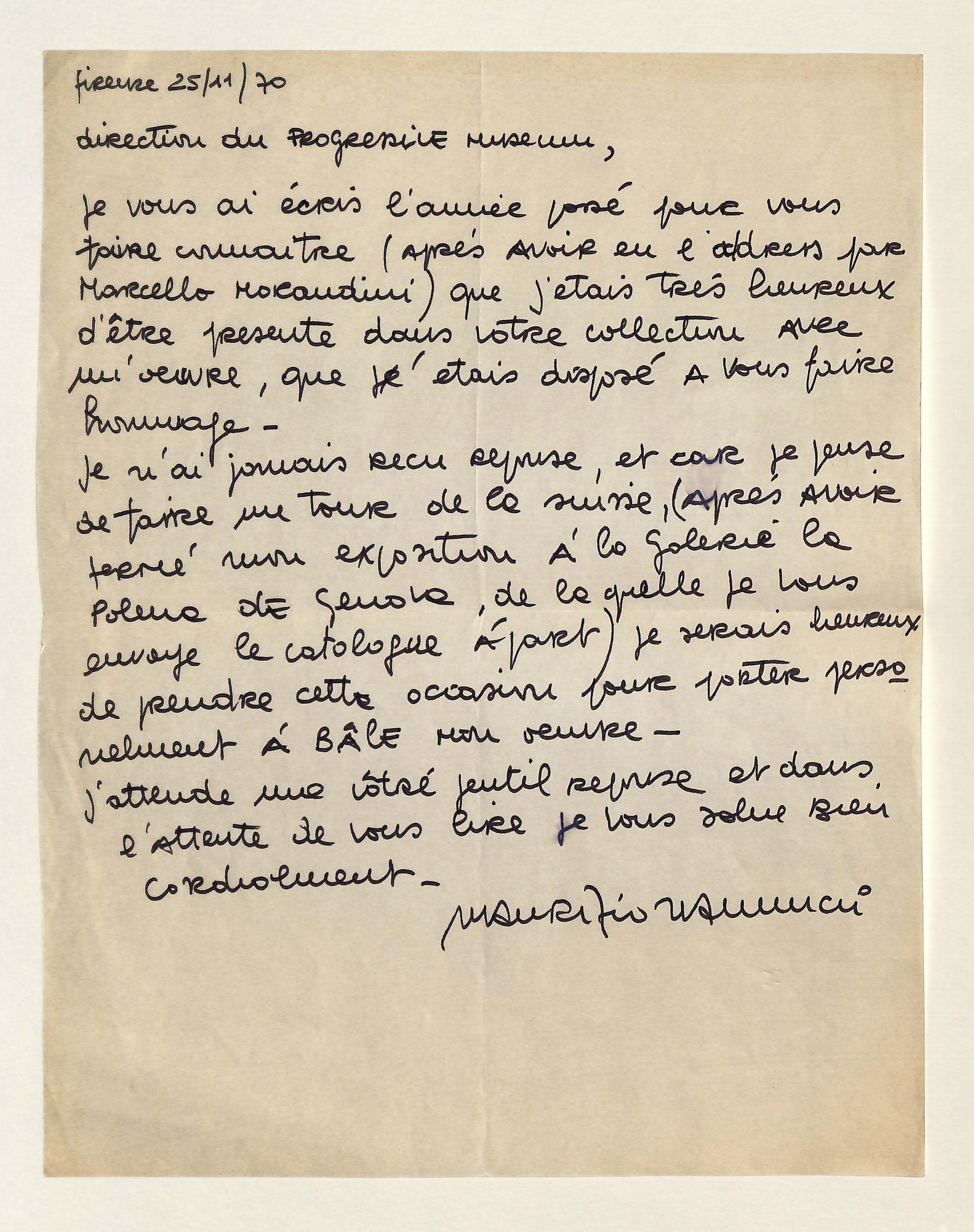 Eigenh. Brief mit U.: Nannucci, Maurizio, Maler