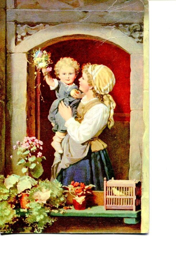 Postal 016500: Pintura de madre e hijo: Varios