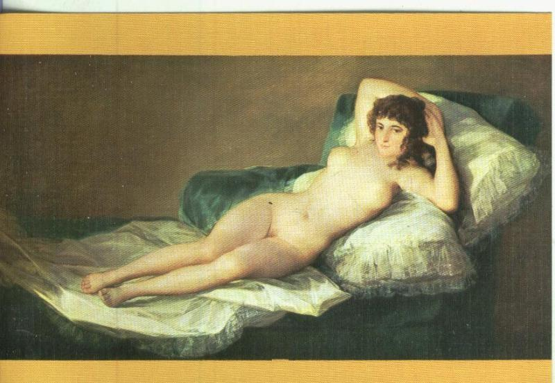Postal Escuela Española Goya La Maja