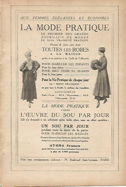 LAMINA 11911: Publicidad de La Mode Pratique: Varios