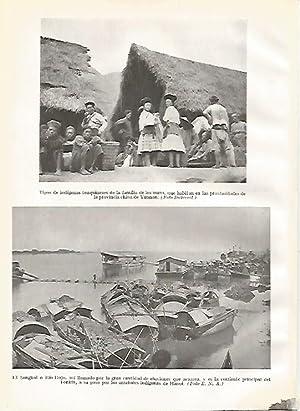 LAMINA GEOGRAFIA 0061: Indigenas Tonquineses y Rio: Ricardo Beltran y