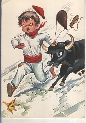 Postal 015252: En los sanfermines, ilustracion de: Varios