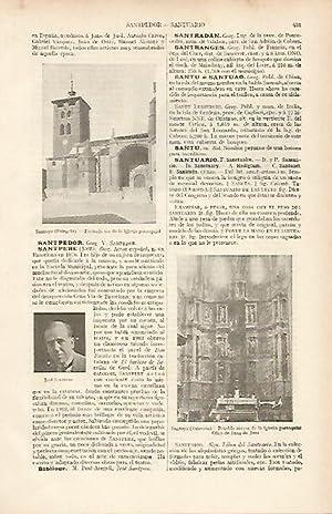 LAMINA ESPASA 19504: Iglesia y retablo de: Varios