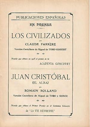 LAMINA PUBLICITARIA 7309: Publicaciones españolas. Los Civilizados: Varios