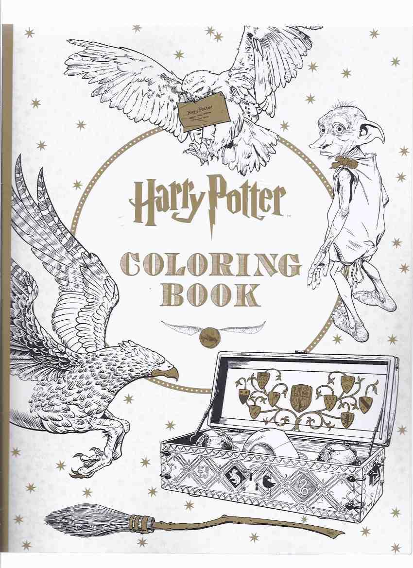 Harry potter coloring book colouring inc dobby dumbledore owls fluffy the three headed dog snape hagrid wands voldemort house logos etc