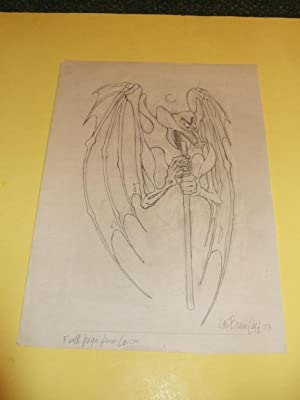 Original Art / Artwork of a Bat Figure -by Lee Brown Coye -signed ( Arkham House / Pulp related)