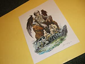 Original Art / Artwork of Cthulhu Rising from the Sea on Paper By Don Marquez ( H P Lovecraft rel...