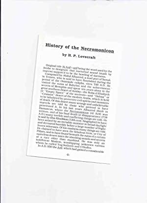 History of the Necronomicon -by H P: Lovecraft, H P