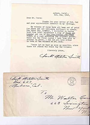 Signed Typed Letter from Clark Ashton Smith, as Well as the Original Signed Mailing Envelope ( Tw...