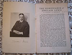 The Significance of Sinclair Lewis with Biographical Notes and Portrait