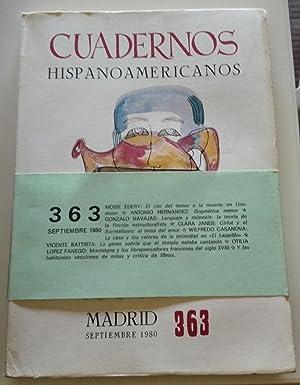 CUADERNOS HISPANOAMERICANOS Nº 363 (Septiembre 1980): Moise Edery, Gonzalo