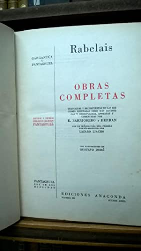OBRAS COMPLETAS: GARGANTUA Y PANTAGRUEL: Rabelais