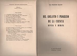 Del Adelanto y Progreso De La Ciencia. Divina y Humana: BACON, Francis
