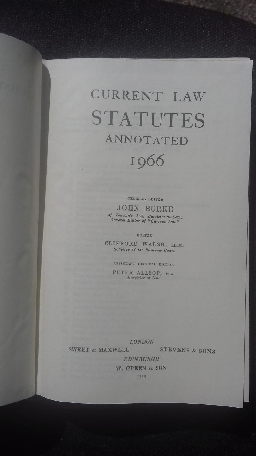 Current Law Statutes Annotated 1966 By Walsh Clifford Ed Sweet
