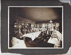 VINTAGE PHOTOGRAPH OF BOOKER T. WASHINGTON AT A BANQUET WITH BLACK LEADERS IN ST. JOSEPH MISSOURI, ...