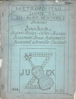 JUZEK-METROPOLITAN MUSIC CO. STRINGED INSTRUMENT CATALOUGE, 1949-50: John Juzek