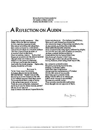 A Reflection on Auden. A SIGNED Broadside