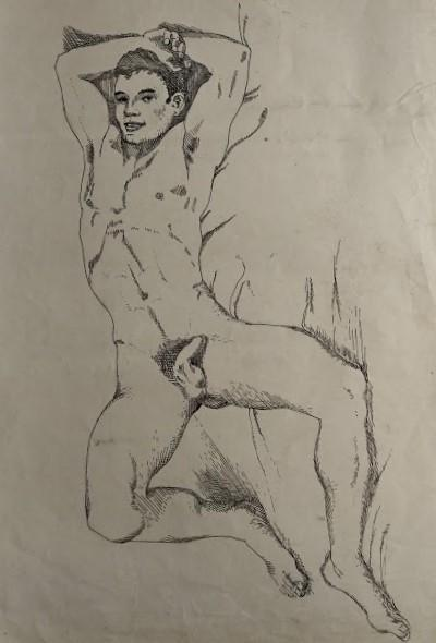 "Original pen and ink of recumbent male nude (20"""" x 14"""") BARRINGTON, John"