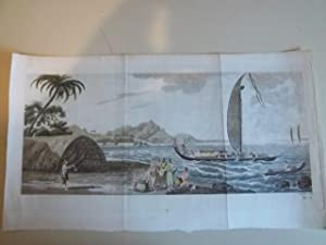 A VIEW IN THE ISLAND OF ULIETEA, WITH A DOUBLE CANOE AND A BOAT HOUSE: ENGRAVING.