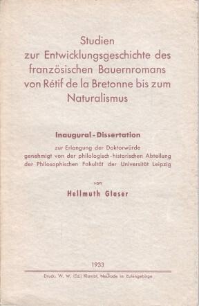 Studien zur Entwicklungsgeschichte des französischen Bauernromans von Rétif de la ...