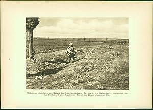 Kupfertiefdruck : 37cm-Granaten - Feldbahnen schwere Artillerie: Soldaten der Entente