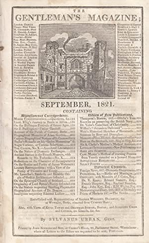 The Gentleman's Magazine for September 1821. FEATURING: Urban, Sylvanus.