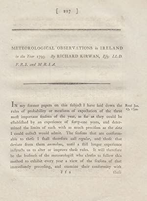 Meteorological Observations in Ireland in the Year 1793. A rare original article from the ...
