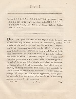 On the Poetical Character of Doctor [Oliver] Goldsmith. A rare original article from the ...