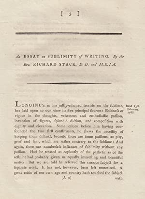 An Essay on Sublimity of Writing. A rare original article from the Transactions of the Royal Irish ...
