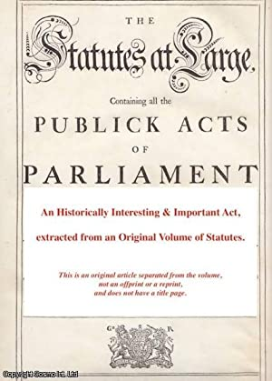 Charitable Corporation Lottery Act 1734]. An Act: George II