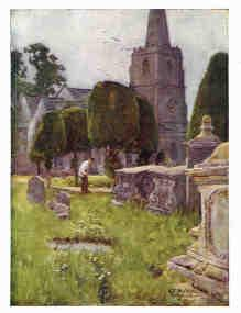Antique colour print of Painswick Churchyard.