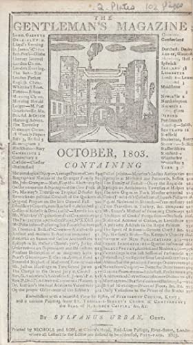The Gentleman's Magazine for October 1803. FEATURING Two Plates; Frindsbury, Kent & a ...