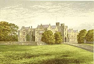 Wytham Abbey, near Oxford, Oxfordshire. The House of the Earls of Abingdon. Antique Colour Print.: ...