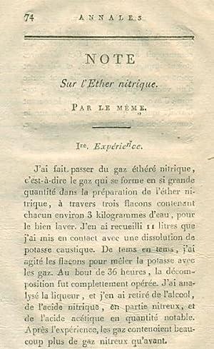 Note Sur l'Ether nitrique A rare original article from the Annales de Chimie, 1807.: Le Meme