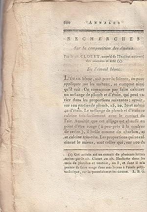 Recherches Sur la composition des emaux. A rare original article from the Annales de Chimie, 1797.:...