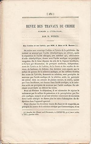 Revue des Travaux de chimie. A rare original article from the Annales de Chimie, 1866.: Wurtz, ...