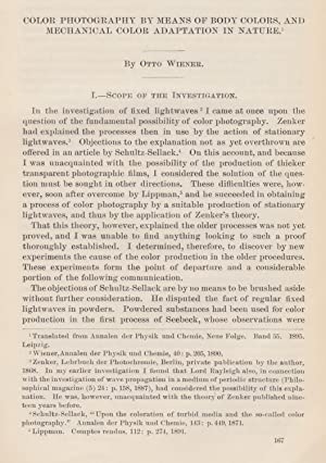 Color Photography by Means of Body Colors, and Mechanical Color Adaptation in Nature. An original ...