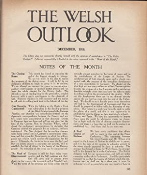 The Welsh Outlook. A Monthly Journal of National Social Progress. December, 1918. Contains; Welsh ...