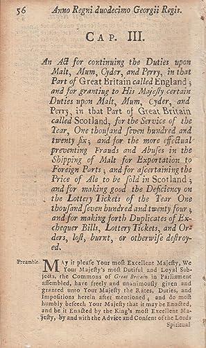MALT DUTIES, ETC. ACT 1725 c. 3.: George I