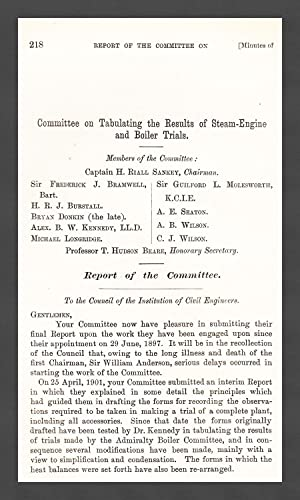 Committee on Tabulating The Results of Steam-Engine and Boiler Trials. A rare original article from...