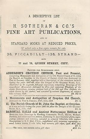 A Descriptive List of H. Sotheran &: Sotheran, Henry