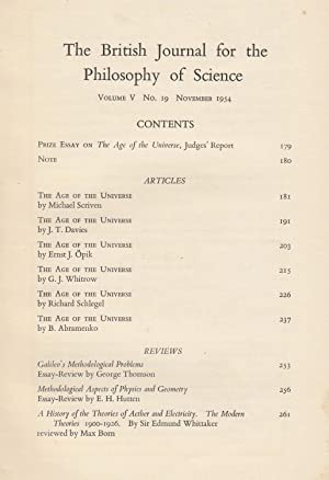 The Age of the Universe. The British Journal for the Philosophy of Science, Vol. V, No. 19, ...