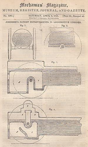 Johnson's Patent Improvements In Locomotive Engines; Advantages