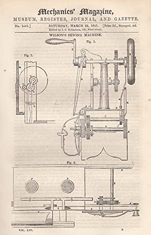 Wilson's Sewing Machine; Mr. Rawson's Treatise On The Screw Propeller; American Swing Gate;...