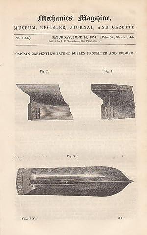 Captain Carpenter's Patent Duplex Propeller And Rudder;