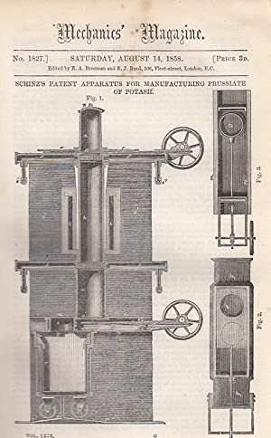 Schinz'z Patent apparatus For Manufacturing Prussiate Of