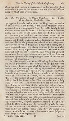 The History of The Helvetic Confederacy. A rare original article from the Monthly Review, 1800.