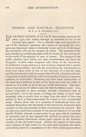 Woman and Natural Selection. An original article from The Humanitarian, A Monthly Review of ...