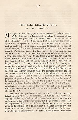 The Illiterate Voter. An original article from The Humanitarian, A Monthly Review of Sociological ...